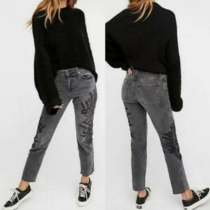 FREE PEOPLE Gray Floral Embroidered Raw Hem Jeans